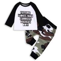 2PCS Baby Boys Summer Clothes Letter Short Sleeve T-Shirt Cool Tops+Camouflage Pants Outfit Set