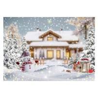 Funnytree Winter Christmas Snowy Landscape Photography Backdrop Wonderland Merry Xmas Rustic Village Background Snowman Baby Shower Kids Birthday Portrait Party Decor Banner Photo Booth Studio 7x5ft