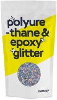 Hemway Metallic Glitter Floor Crystals for Epoxy Resin Flooring (500g) Domestic, Commercial, Industrial - Garage, Basement - Can be Used with Internal & External (Silver Holographic Stars & Moons)
