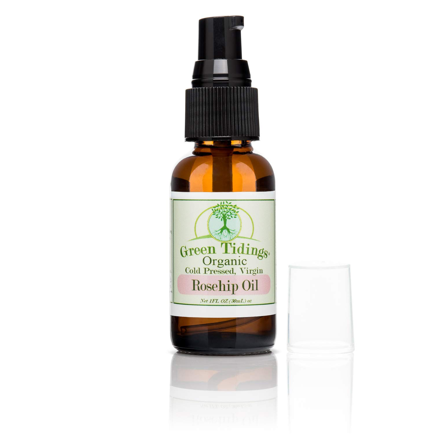 Green Tidings Organic Rosehip Seed Oil for Skin & Hair, 100% Pure Cold-Pressed, Virgin, Unrefined Rosehip Facial Oil - All Natural Face Oil for Healing Sunburn, Nails, Wrinkles, Stretch Marks