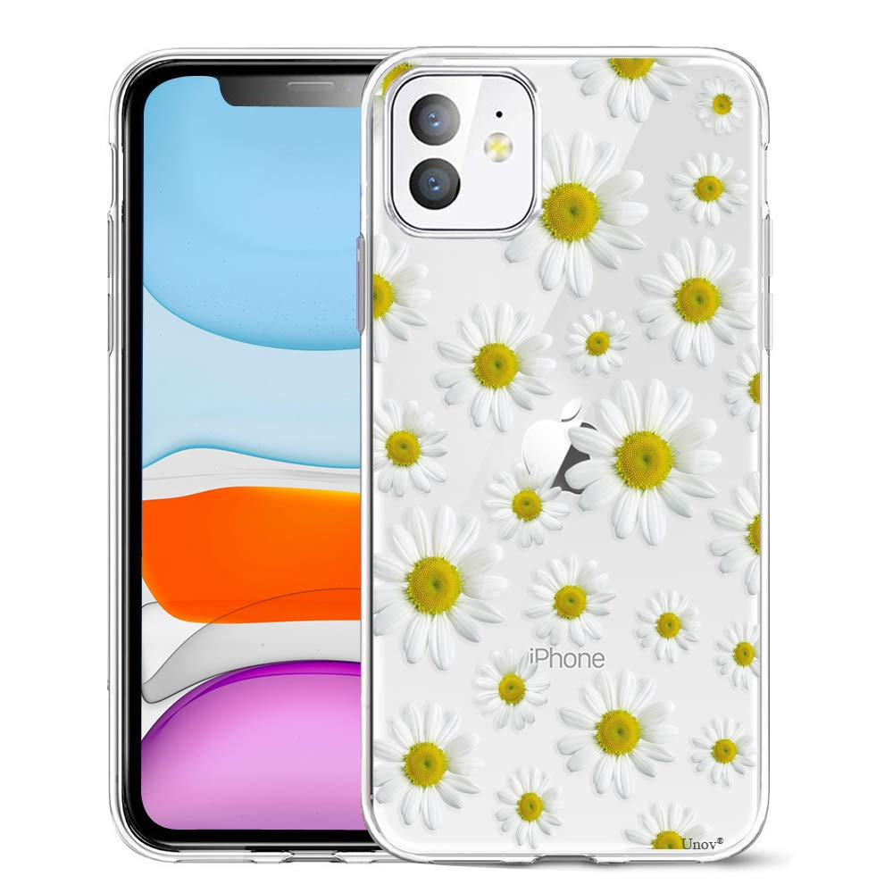 Unov Case Clear with Design for iPhone 11 Case Slim Protective Soft TPU Bumper Embossed Pattern Cover 6.1 Inch (White Daisy)