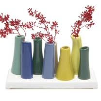"""Chive - Pooley 2, 7.25"""" Long 3"""" Wide 4.5"""" Tall Unique Rectangle Ceramic Flower Vase, Small Bud Decorative Floral Vase Home Decor Centerpieces, Arranging Bouquets, Connected Tubes (Green, Pink, Blue)"""