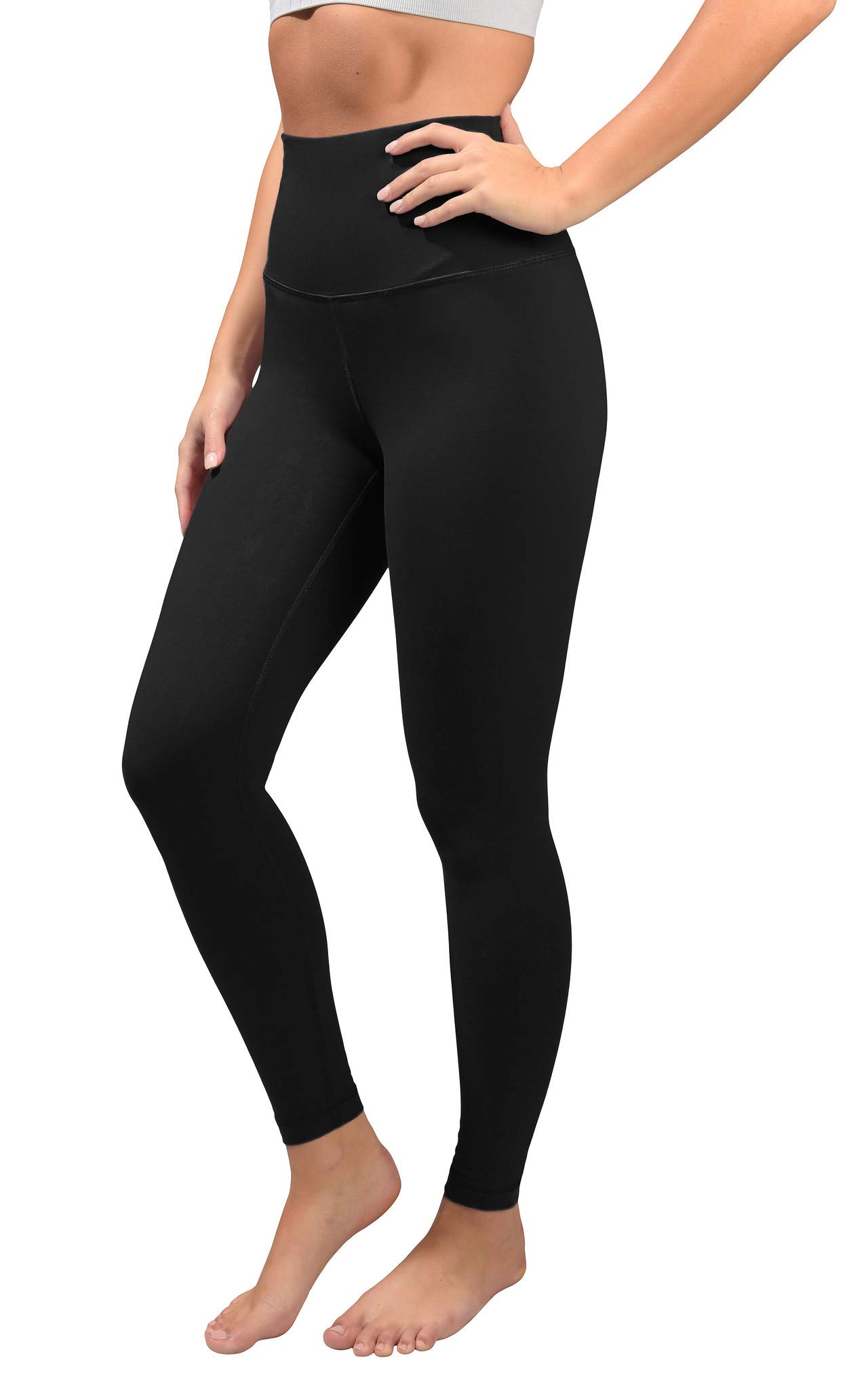 90 Degree By Reflex Cotton Super High Waist Ankle Length Compression Leggings with Elastic Free Waistband