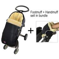Weather Resistant Australia Anti-Dirty Anti-Bacterial Sheepskin Stroller Bunting Bag Fits All Joggers,Comes with Anti-Freeze Thick Lambskin Fingless Gloves,Footmuff Handmuff in Bundle,Cream