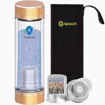 GOSOIT Hydrogen Alkaline Water Bottle Hydrogen Water Maker Machine with 1PK Patent Hydrogen-enriched Tile, Make Hydrogen Content Up to 800-1200 PPB and PH of 7.5-9.0 (gold)