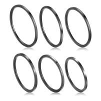 Jovivi 6 Pcs 1mm Thin Stainless Steel Women's Plain Band Knuckle Stacking Midi Rings Comfort Fit Size 4 to 9 Silver/Gold/Black/Rose Tone