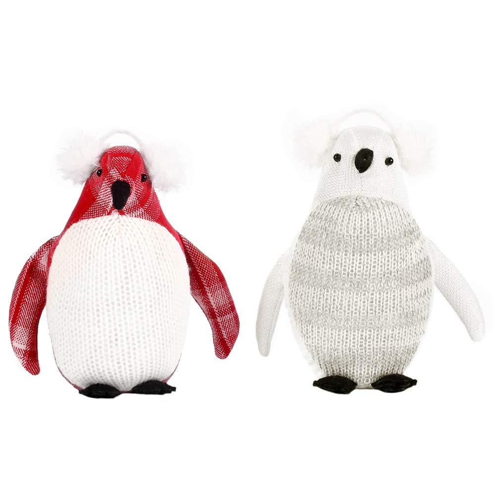 CSH Penguin Stuffed Animal,Soft and Cute Penguin Plush Toys.Christmas Decorations,Great Gifts for Christmas,Baby Shower or Birthday,Holiday Presents for Your Family or Friends.Red & White,Set of Two