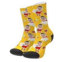 Custom Face Socks Personalized Photo Gift Multi Santa Claus Funny Crew Socks for men women Christmas Day S