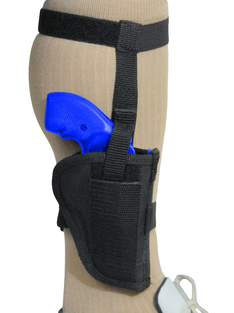 "Barsony New Black Nylon Ankle Holster for 2"" Snub-Nose 22 32 38 357 Revolvers"