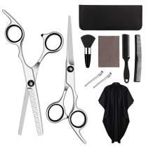 10 Pcs Hair Cutting Scissors Set Hairdressing Scissors Kit, Thinning Scissor, Barber Cape, Comb, Clips, Brush, Leather Case, Professional Barber Salon Home Haircut Shear Kit For Men Women Pet