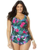 SWIMSUITSFORALL Swimsuits for All Women's Plus Size Sarong Front One Piece Swimsuit