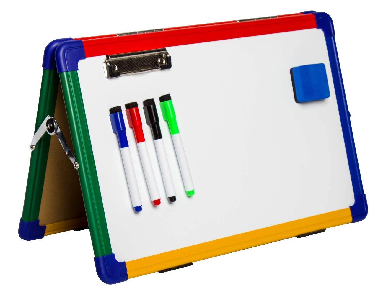 IbexStationers Magnetic Kids Dry Erase Board Whiteboard Easel for Children, Home Learning Tools, Double Sided Marker Board, with Four Color Markers and Eraser Size 12x16