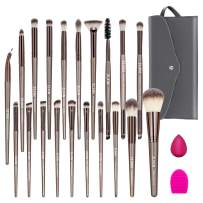 ZLXIN Makeup Brushes Set 23 Pcs Premium Synthetic Kabuki Foundation Face Powder Blush Concealers Eye Shadows Make Up Brushes Kit with Storage Bag Blender Sponge and Brush Cleaner (Gold)