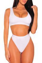 Cutiefox Womens Crop Top Scoop Neck High Waisted Bikini Sets Two Piece Swimsuits