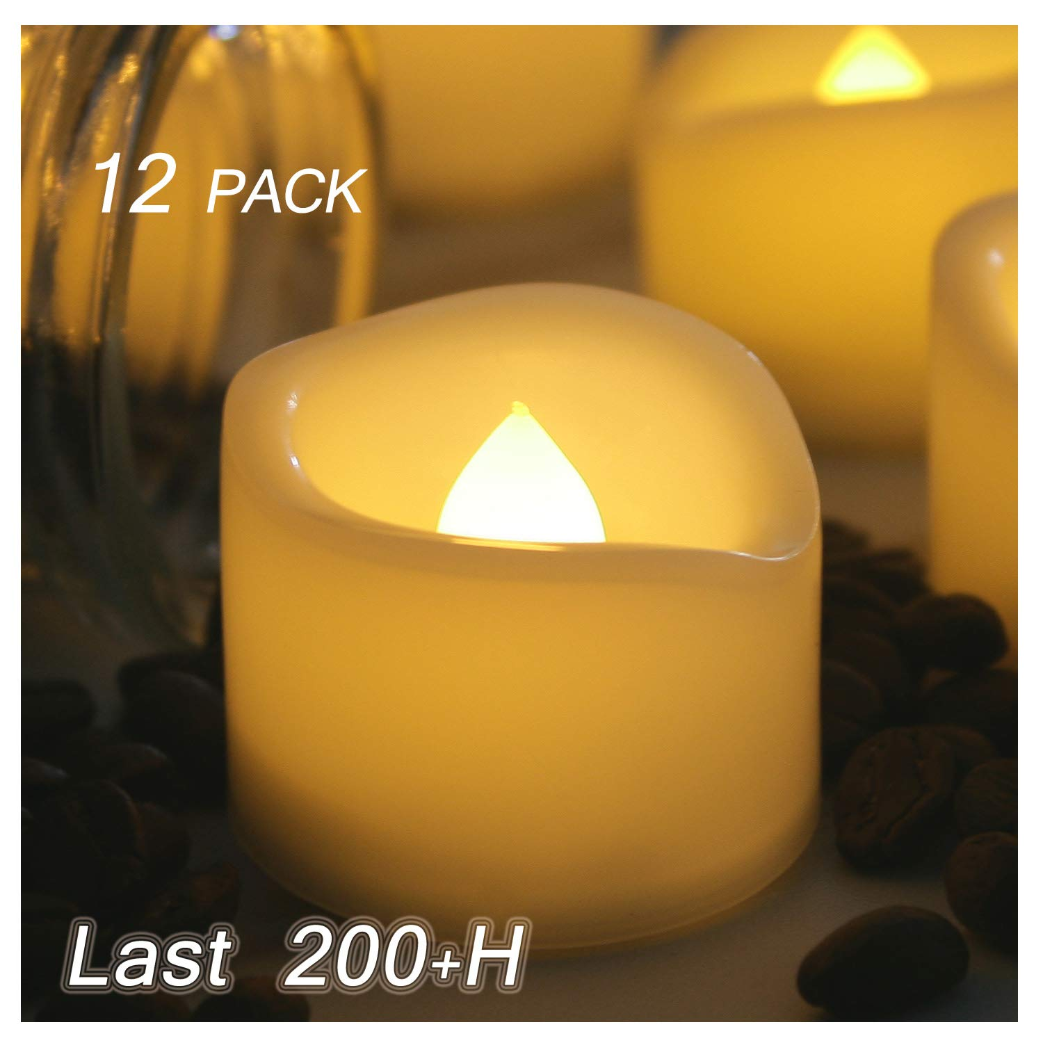 12 Pack Small Battery Operated Flameless LED Votive Candles Realistic Flickering Electric Fake Tea Lights Bulk Set Baptism Party Wedding Decorations Centerpieces Home Decor Long Lasting Batteries Incl