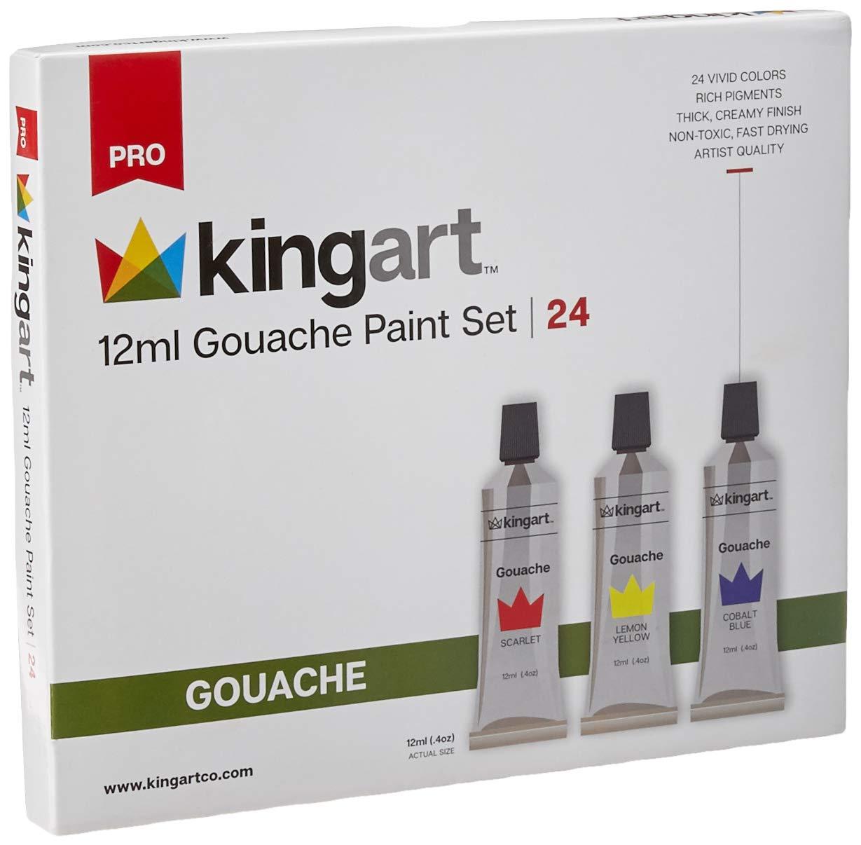 KingArt PRO Gouache Set Gouche Paint, 24 ea, Unique Colors