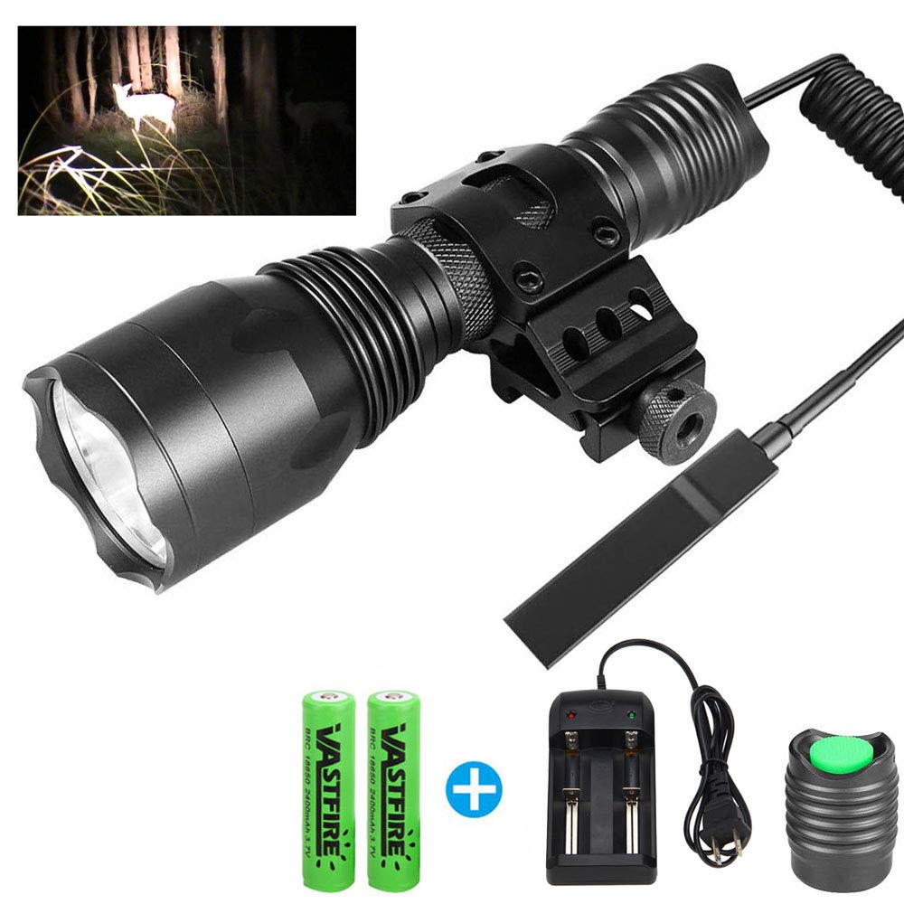 VASTFIRE Tactical Flashlight for AR 15 with Offset Mount, 1000 Lumen 150 Yard 1 Mode, Pressure Switch 18650 Battery include for Home Defense, Night Games or Dark Indoor Games