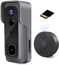 WiFi Video Doorbell Camera with Chime, Two-Way Audio, IP65 Waterproof PIR Motion Detection, Wide Angle, Wireless Door Security Battery Camera, Night Vision, Cloud Storage(optional), 32GB Pre-installed
