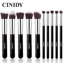 CINIDY Makeup Brush Set 10 PCS Wood Handle Kabuki Powder Foundation Blush Concealer Eyeliner Eyeshadow Contours Brush for Girl Gift Beauty Tools