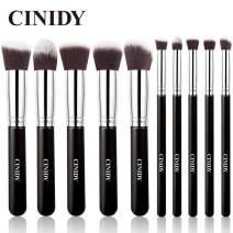 CINIDY Makeup Brush Set 10 PCS Wood Handle Kabuki Powder Foundation Blush Concealer Eyeliner Eyeshadow Contours Brush for Girl Gift Beauty Tools