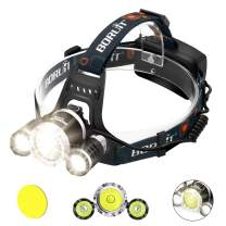 Headlamp Rechargeable Led Headlamp Flashlight Brightest waterproof headlamp Boruit RJ5000 Cree XM-L2 3 LED 8000LM Headlamps Headlight 18650 Batteries Pack for Hunting Fishing