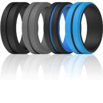 ThunderFit Silicone Wedding Rings for Men 2 Layers - 7 Rings / 4 Rings / 1 Ring - Engraved Middle Line Beveled Edge Rubber Engagement Bands - 8.2mm Width 2.5mm Thickness