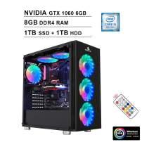 2020 NexiGo Quantum-Flux Liquid Cooled VR Ready RGB Gaming Desktop Computer (Intel 6-Core i5-9400F 2.9GHz, GTX 1060 6GB GDDR5, 8GB DDR4 RAM, 1TB SSD (Boot) + 1TB HDD, HDMI, WiFi, Windows 10)