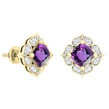 Dazzlingrock Collection 14K 6 MM Each Cushion Gemstone & Round White Diamond Ladies Stud Earrings, Yellow Gold