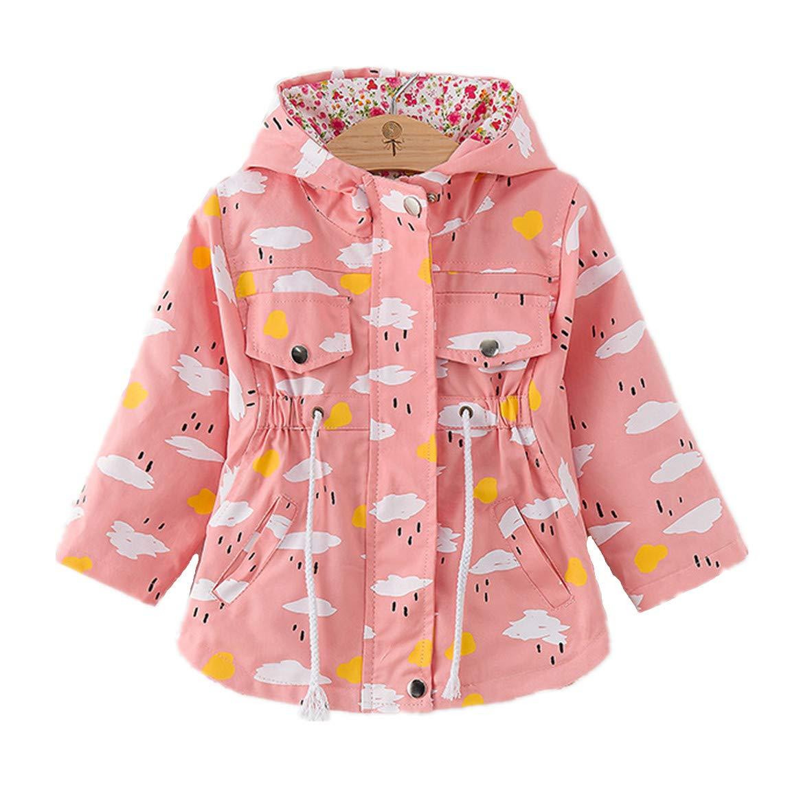 WINZIK Little Baby Girls Kids Outfits Spring Autumn Polka Dot Pattern Hooded Windbreaker Jacket Casual Outerwear Coat