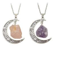 MJartoria Best Friend Necklaces Love Across Light Years Filigree Crescent Moon Nebulae Cabochon Friendship Necklace Set of 2