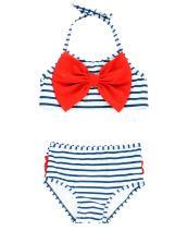 RuffleButts Baby/Toddler Girls Bikini 2-Piece Swimsuit with Bow and Ruffles UPF 50+ Sun Protection