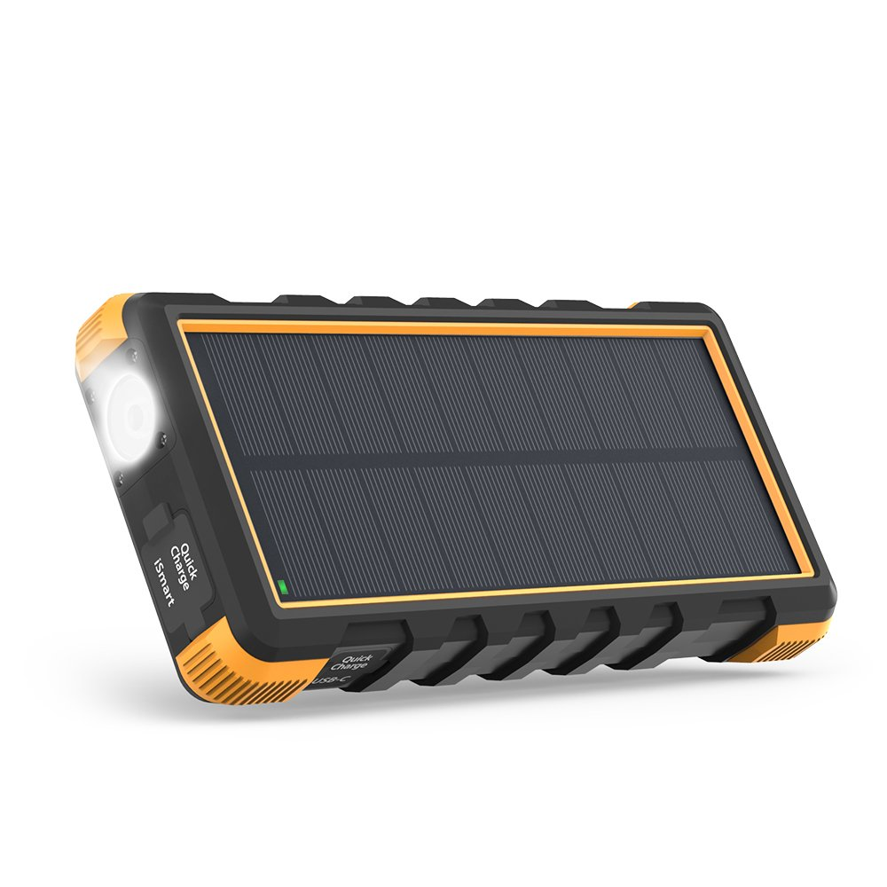 Solar Power Bank, 25000mAh RAVPower Solar Phone Charger with 3 USB Ports, External Battery Pack with Micro USB & USB C Inputs, Outdoor Portable Charger with Flashlight - Shock, Dust & Waterproof