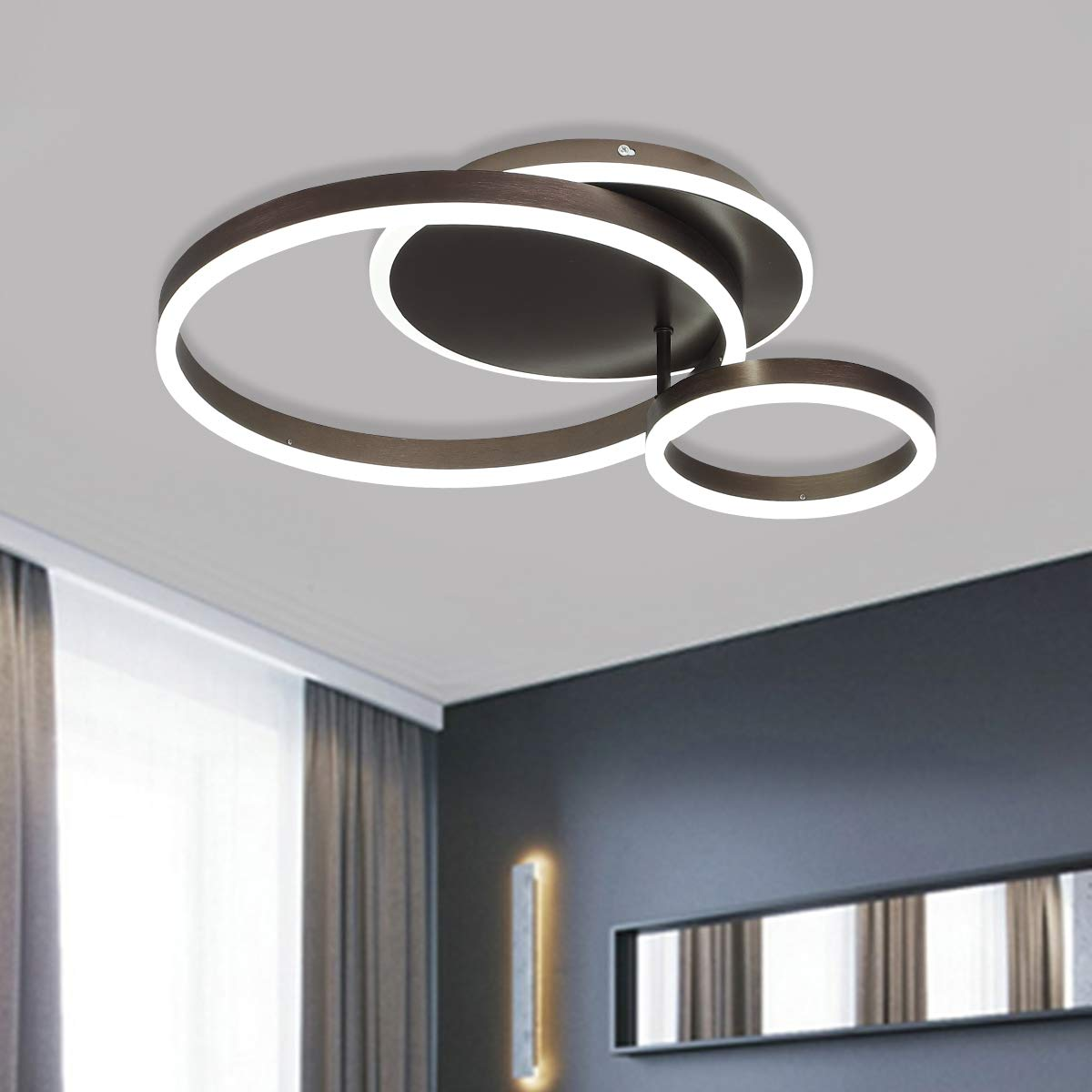 Jaycomey Modern LED Ceiling Light,52W 3-Rings LED Chandelier Ceiling Lamp,Brushed Aluminum Acrylic Flush Mount Ceiling Light Fixture for Living Room Bedroom Kitchen,Daylight 6000K,Coffee Color