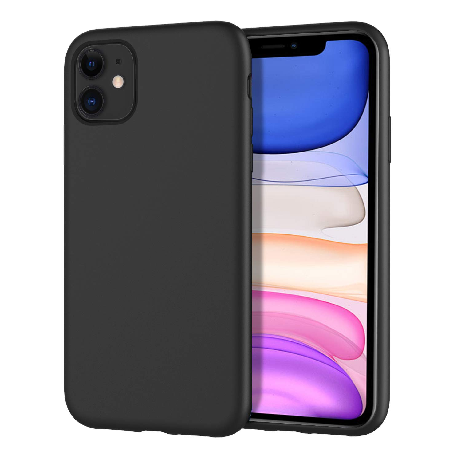 MoKo Compatible with iPhone 11 Case, Shockproof Slim Fit Liquid Silicone Gel Rubber Protective Case Soft Touch Back Cover Fit iPhone 11 6.1 inch 2019 - Black