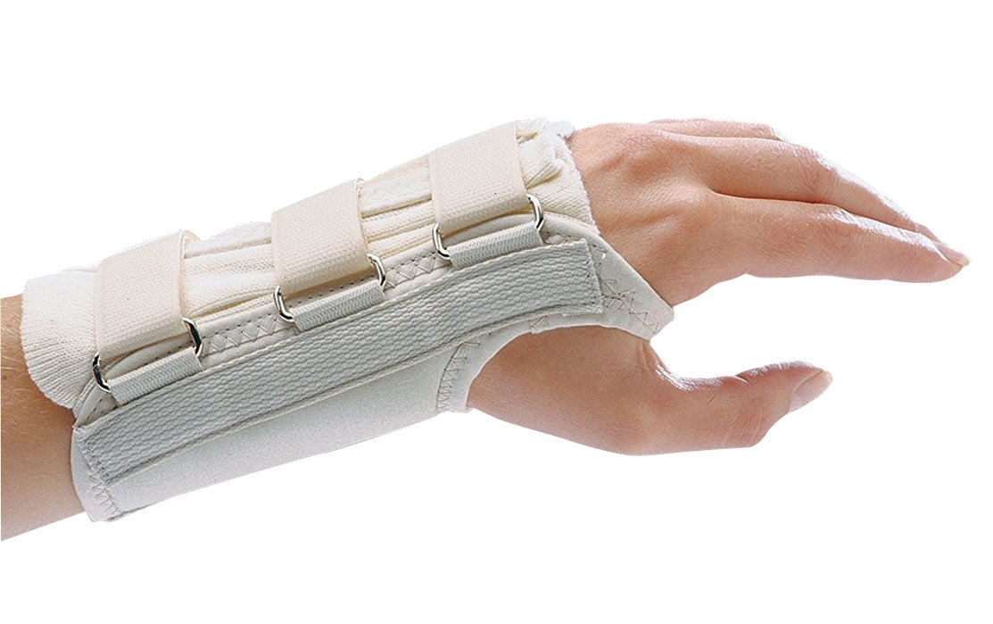 "Rolyan D-Ring Left Wrist Brace, Size Medium Fits Wrists 6.75""-7.5"", 7"" Regular Length Support, Beige Brace with Straps and D-Ring Connectors to Secure and Stabilize Hands and Wrists"