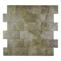 "Yipscazo Peel and Stick Tile Backsplash, PVC Persia Grey Backsplash Stone Tile for Kitchen Peel and Stick (12"" X 12"", 5 Sheets)"
