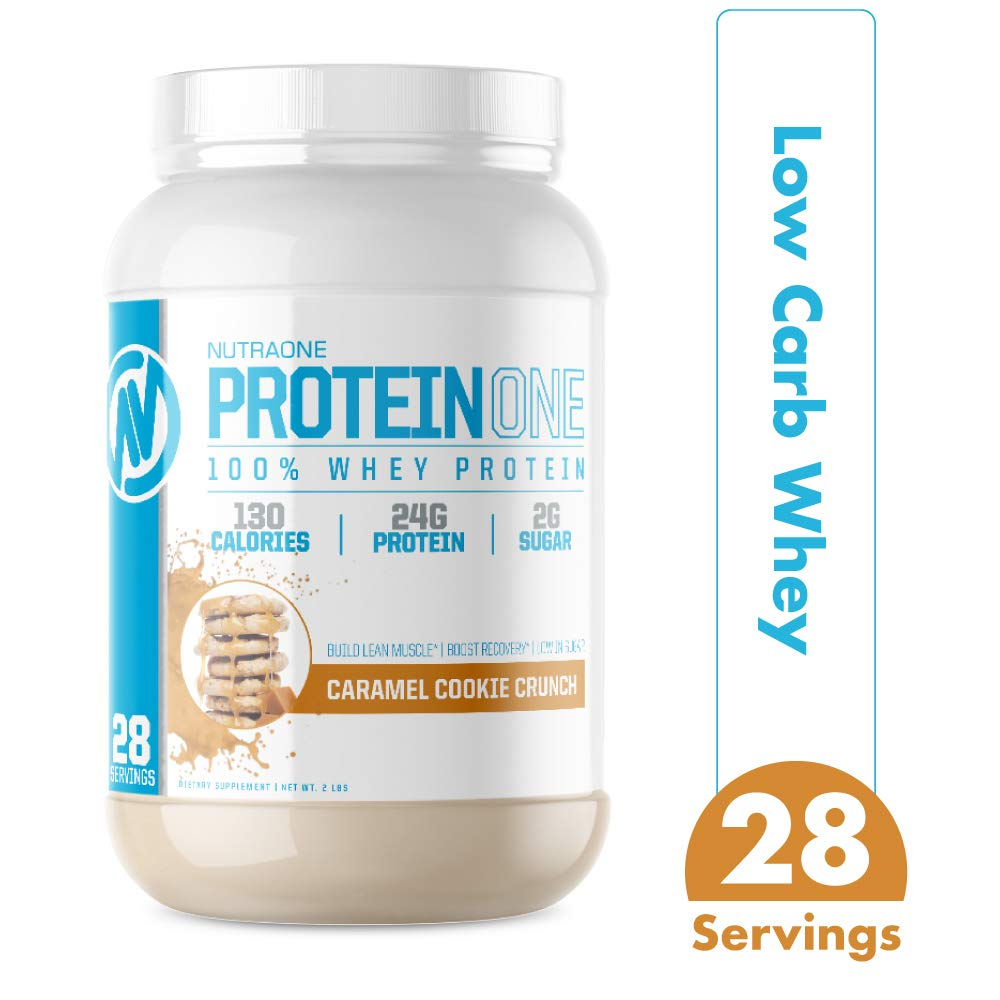 ProteinOne Whey Protein Powder by NutraOne – Non-GMO and Amino Acid Free Protein Powder (Caramel Cookie Crunch - 2 lbs.)