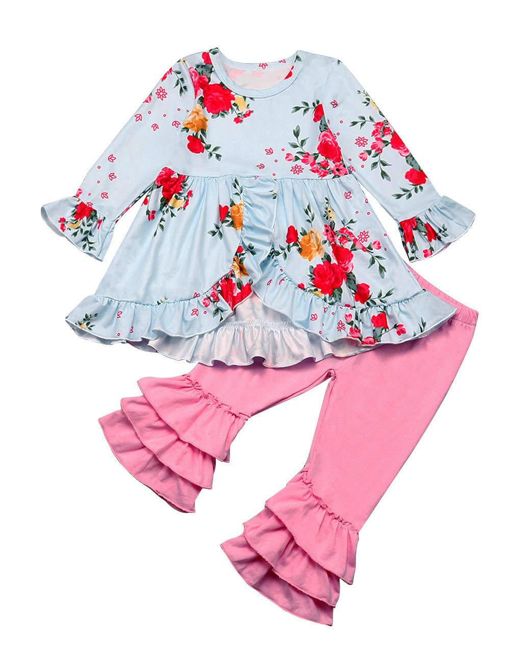 Newborn Infant Baby Girl Clothes Hoodie Sweatshirt Tops with Pocket+ Floral Pants+Headband Fall Winter Outfit Sets