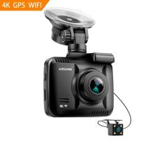 4K Ultra HD Car Dash Cam,Azdome Dual Lens Built in GPS WiFi FHD 1080P Front + VGA Rear Camera Car DVR Recorder 2160P Dash Cam Novatek 96660 Dashcam,incl.2 Port car Charger