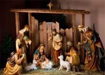 AOFOTO 7x5ft Christmas Night Nativity Scene Backdrop Holy Family Figurine Birth of Baby Jesus Christ Child Mary Joseph Shabby Stable Manger Background Christian Xmas Eve Bible Photo Studio Props Vinyl