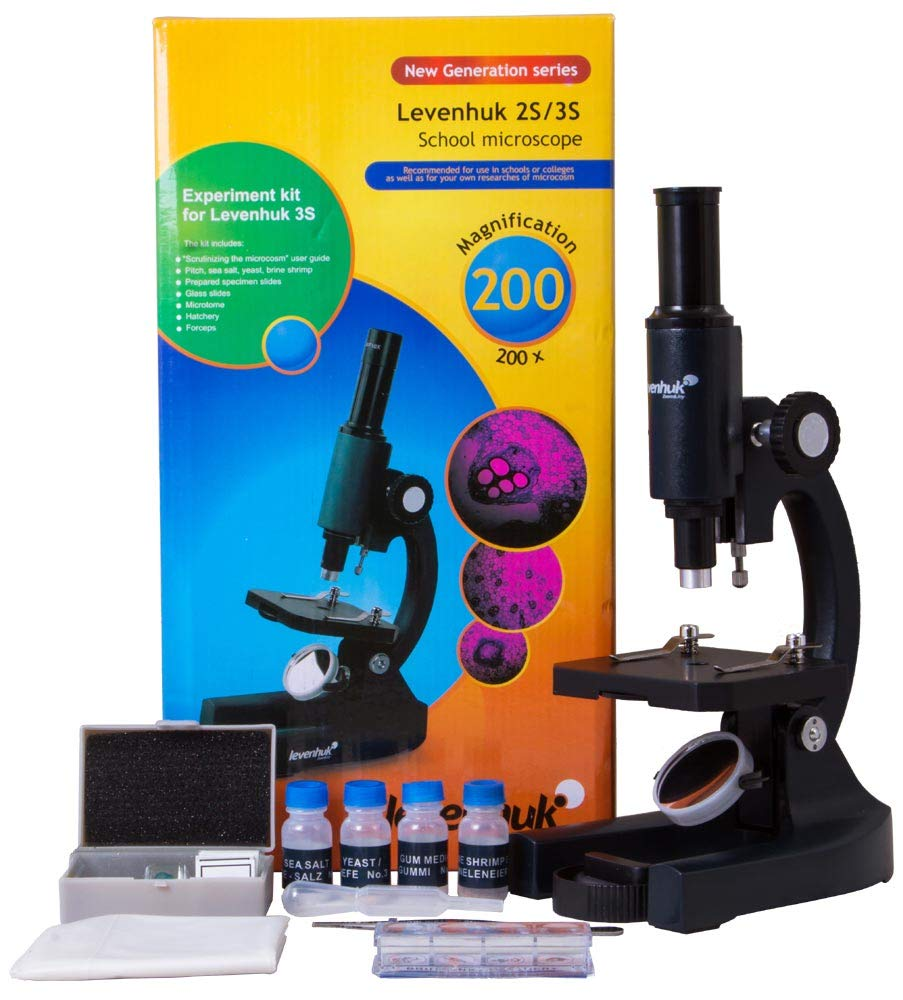 Levenhuk 3S NG Classic Metal Microscope with Accessories, Comes in a Colorful Box