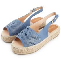 Alexis Leroy Women's Peep Toe Hollow Out Vamp Slingback Comfortable Espadrilles Sandals