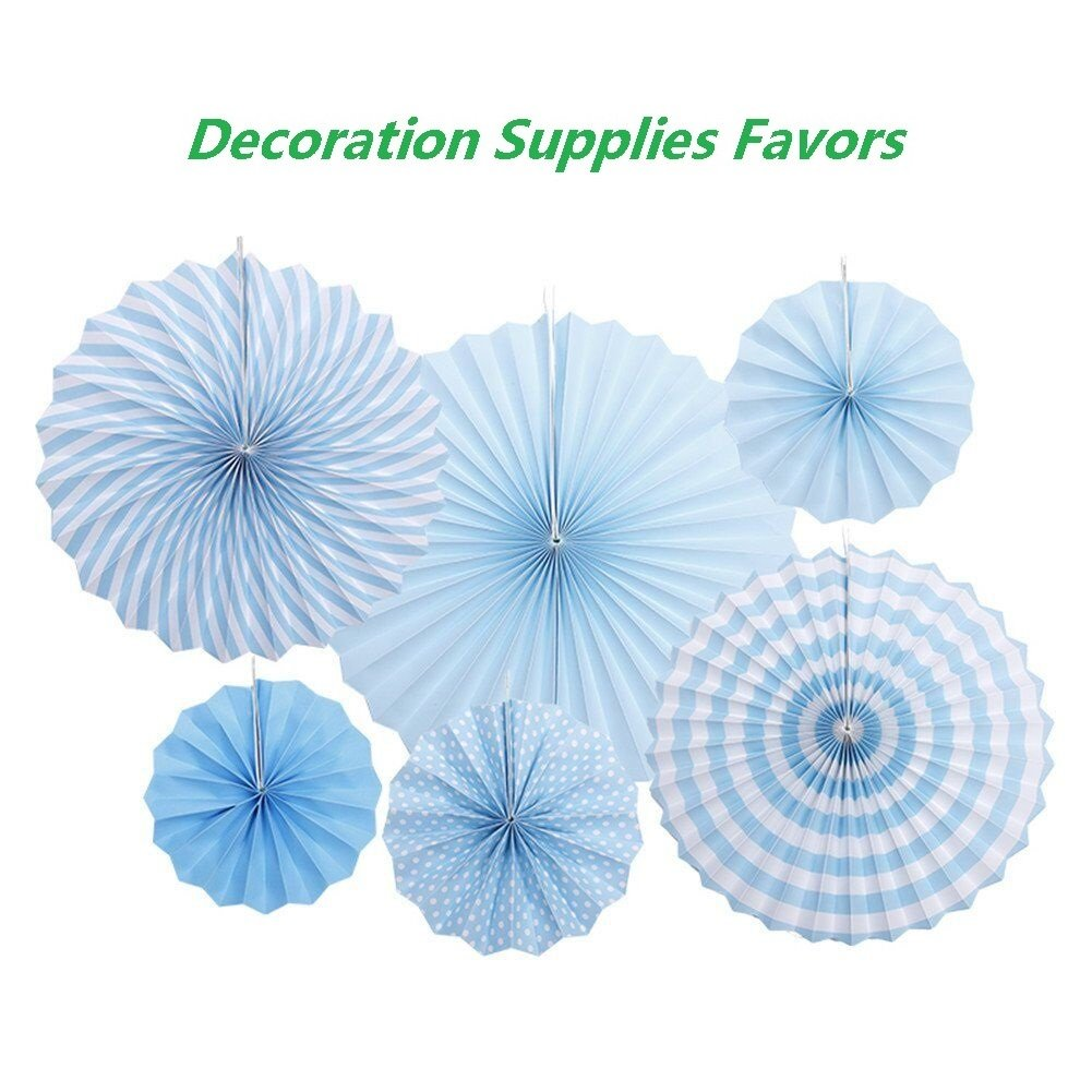 LayYun Colorful Hanging Paper Fans -Fiesta Round Party Paper Garland Decorations, Party Supplies for Bridal Wedding, Birthday Party, Baby Shower, Graduation Event Accessories, Set of 6 (Blue)