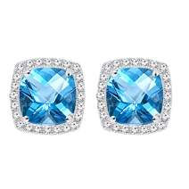 Dazzlingrock Collection 14K 6.5 MM Each Cushion Gemstone Round White Diamond Ladies Stud Earrings, White Gold