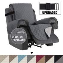 "H.VERSAILTEX Reversible Recliner Cover Recliner Slipcover Recliner Furniture Protector 2"" Elastic Strap Slip Resistant Water Repellent Slipcover Seat Width Up to 22"" (Recliner, Grey/Beige)"
