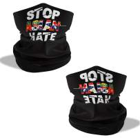 JISON21 Stop Asian Hate Face Mask Bandanas Cooling Scarf Balaclava Neck Gaiter (2pcs) Black