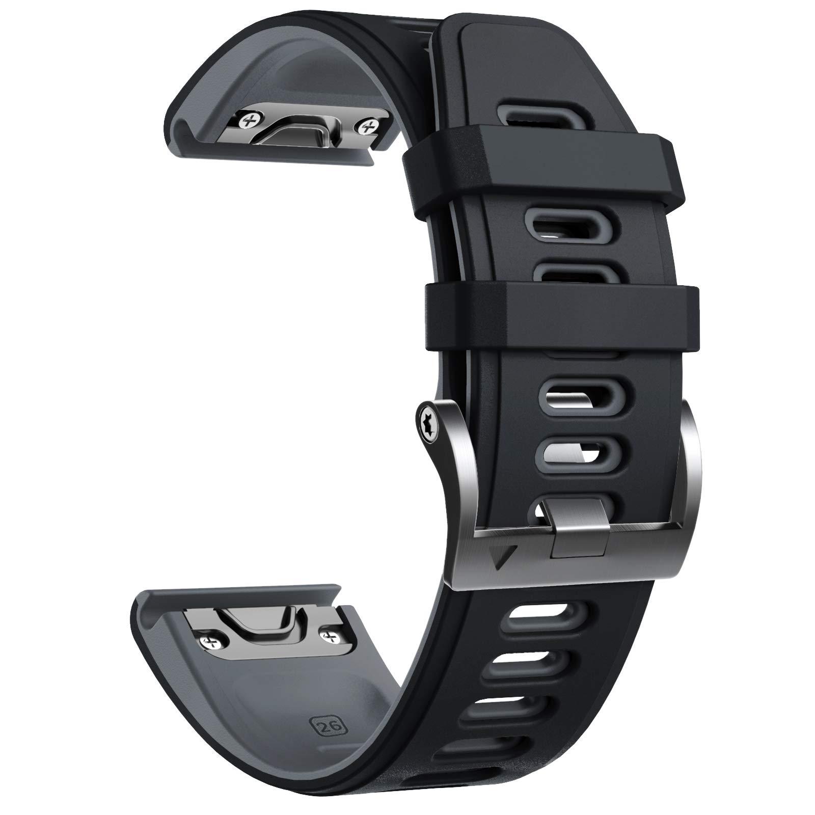 NotoCity Compatible with Fenix 6X Watchbands Silicone Sport Watch Strap for Fenix 5X/5X Plus/Fenix 6X/Fenix 6X Pro/Fenix 3/Fenix 3 HR/Descent MK1/D2 Delta PX/D2 Charlie Smartwatch. (Black-Grey)