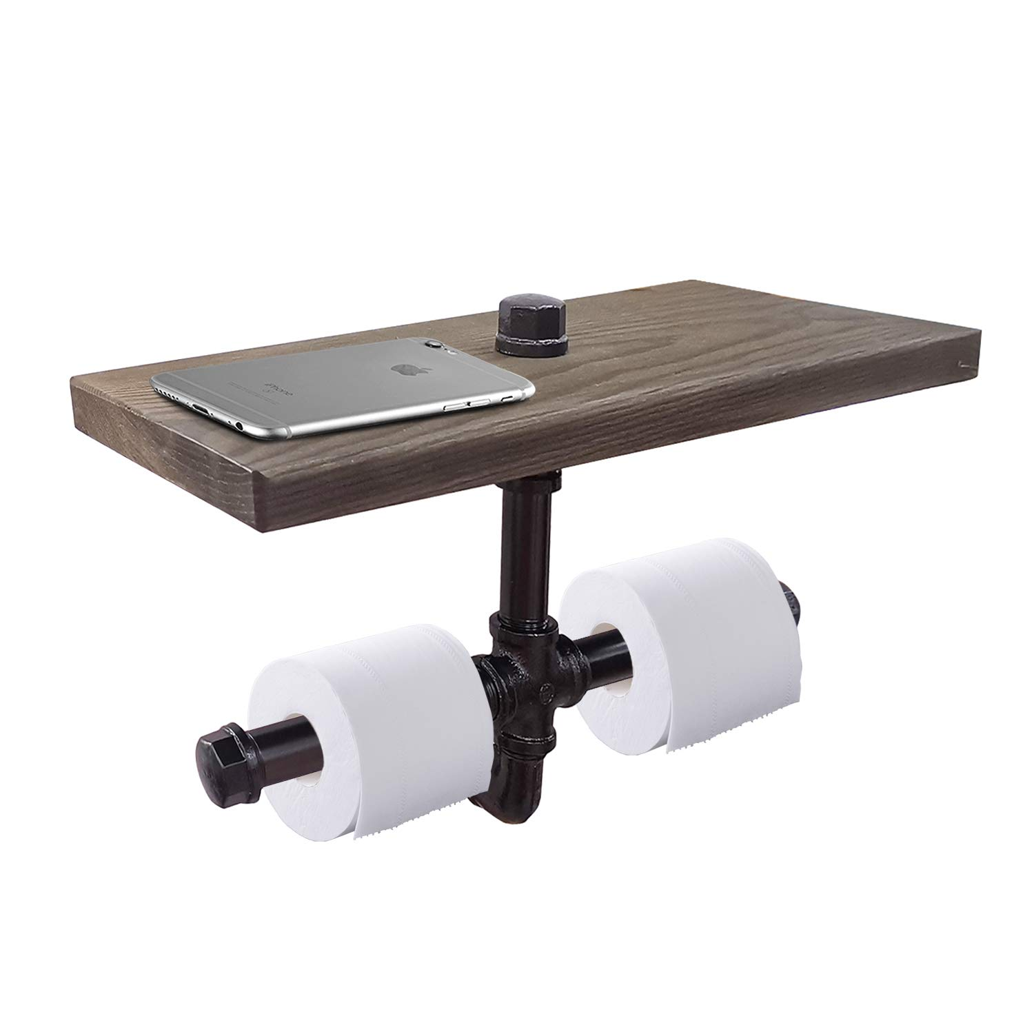 gotonovo Industrial Toilet Paper Holder Double Rolls with Wooden Shelf Pipe Bathroom Hardware Long Shelf Cast Iron Pipe Washroom Wall Mounted Kit