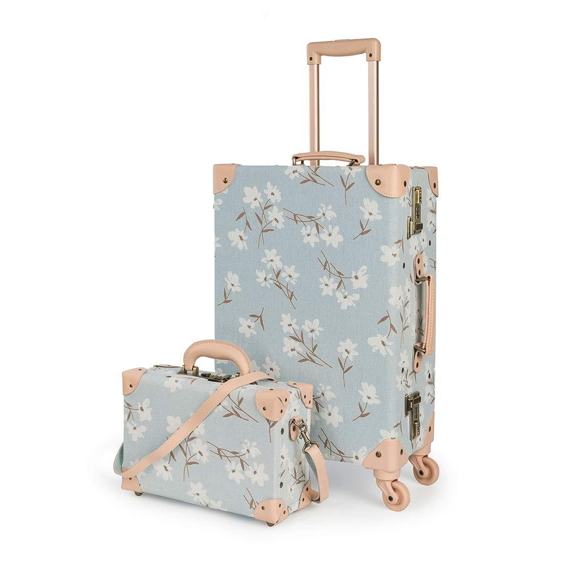 "COTRUNKAGE Cute Travel Luggage Set 2 Pcs Trunk Case Vintage Women Suitcase with TSA Lock (13"" & 26"", LightCyan Floral)"
