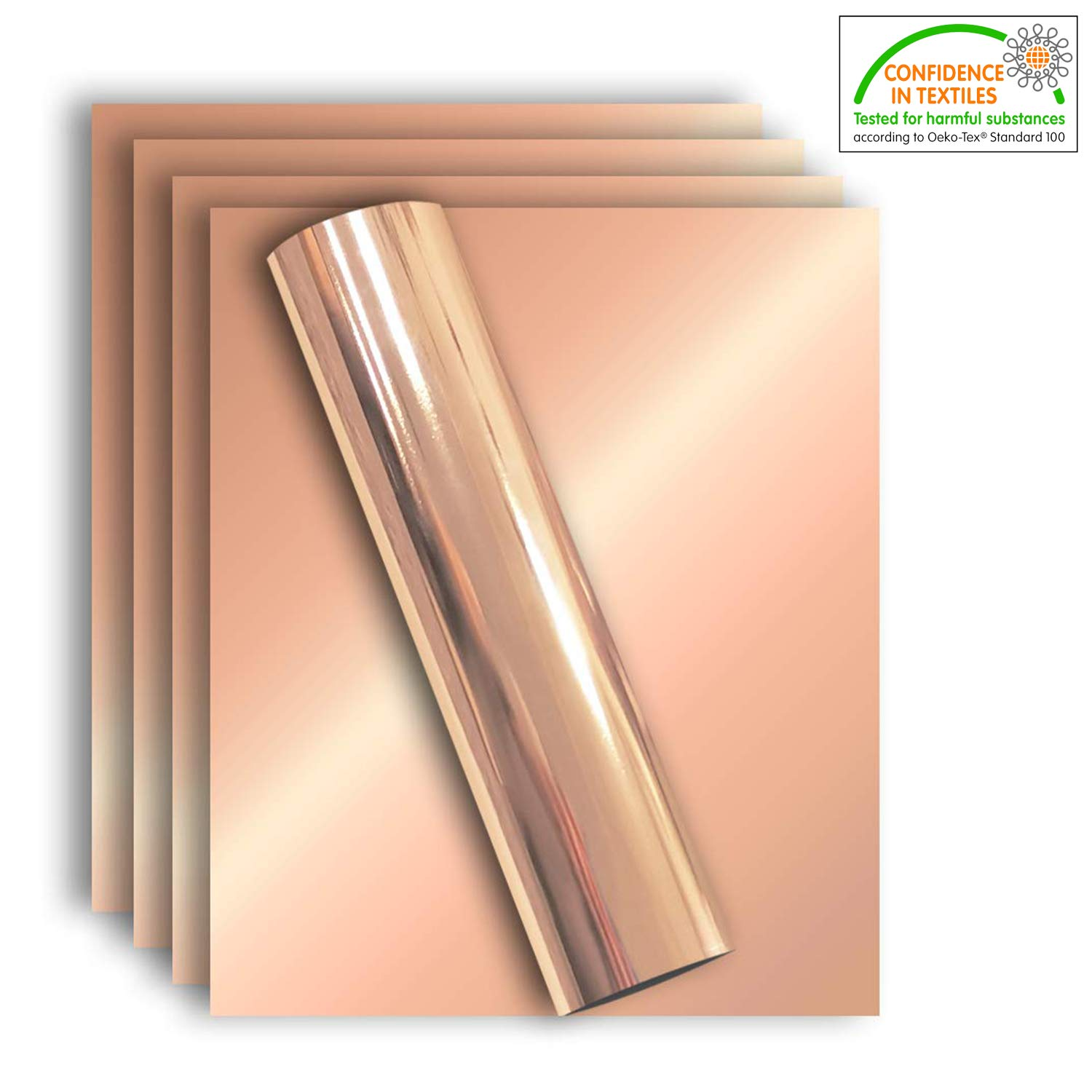 Stretchable Metallic Heat Transfer Vinyl Rose Gold Foil, Iron On HTV Bundle for DIY Your Own Clothes, 12x10 Inch, Pack of 5 Sheets, Eco-Friendly